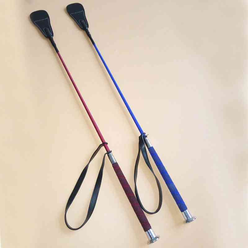 Soft Leather Riding Crop, Straight Handle Horse Whip For Racing
