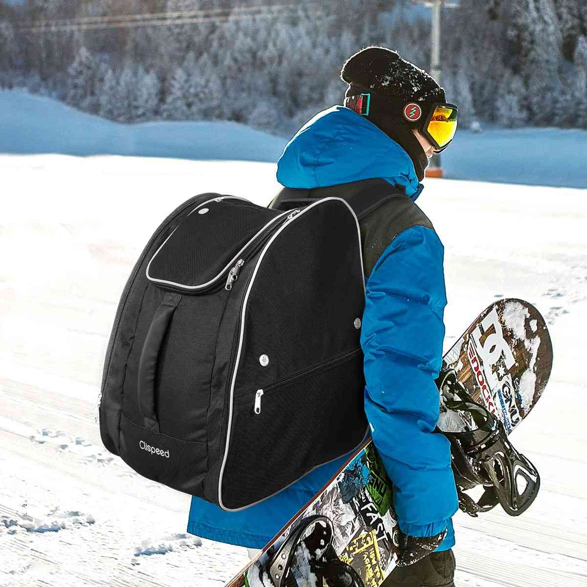 Ski Boot Bag, Travel Gear Backpack With Reflective Strips For Skiing And Snowboarding