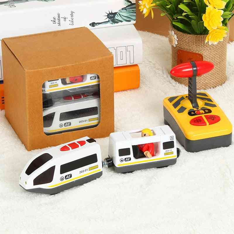 Remote Control Electric Train Set With Wooden Railway Track For Kids