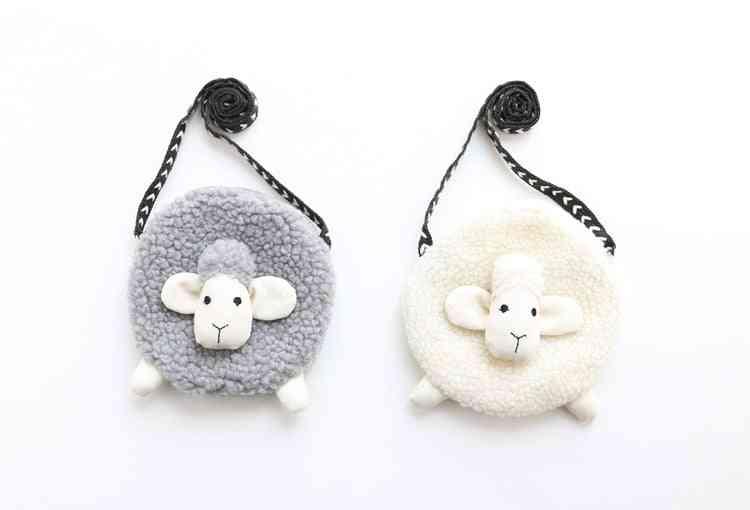 3d  Fur Sheep Shape Crossbody Bag For Kids