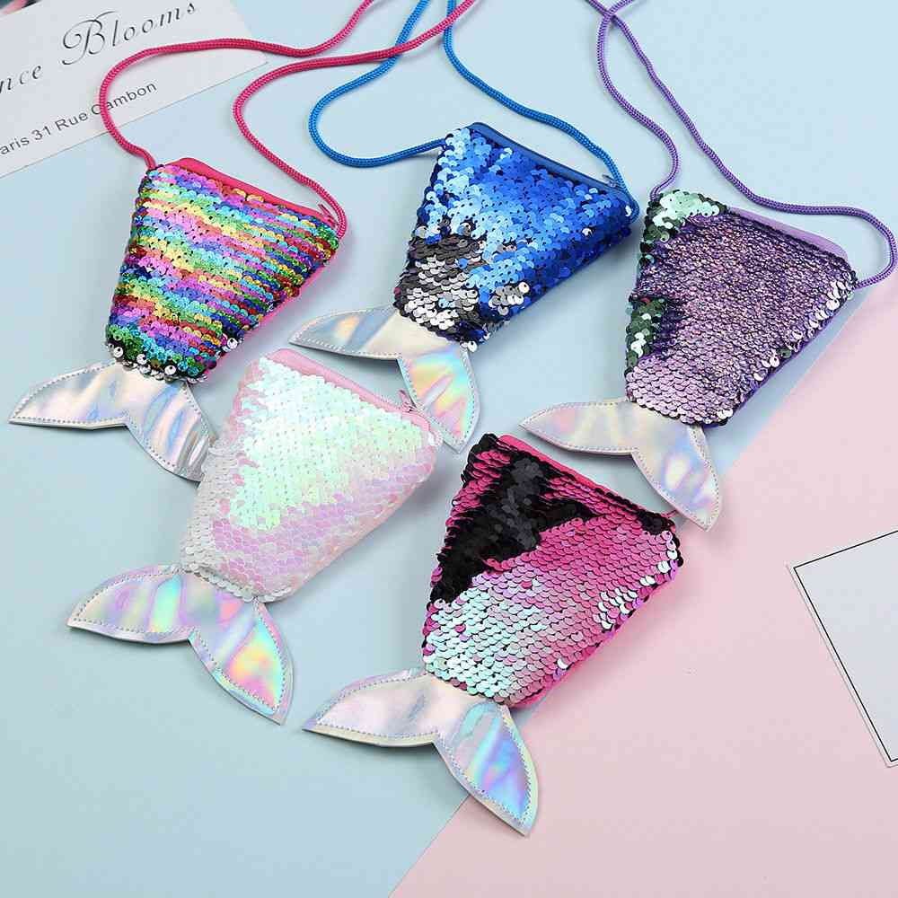 Fish Tail Shape, Sequins Coin Purse