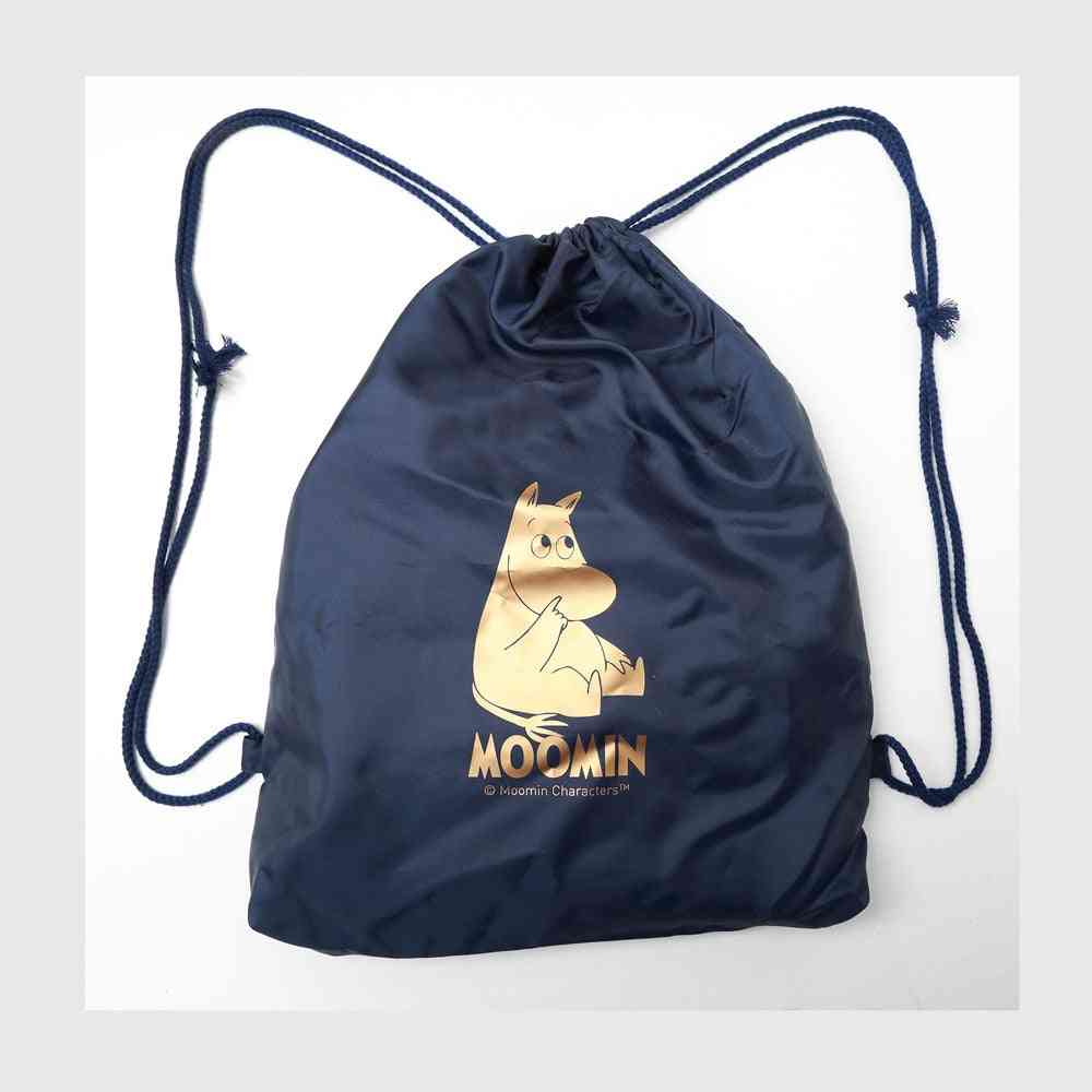 Cartoon Print, Silk Lining Drawstring Bag
