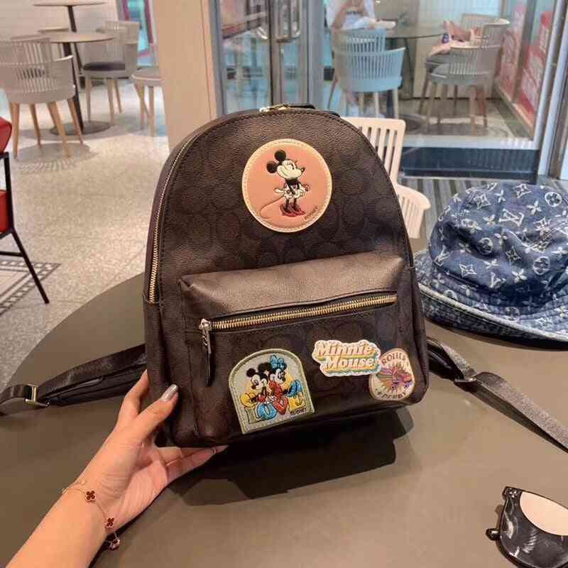 Mickey Mouse And Minnie Print-high Capacity Backpack