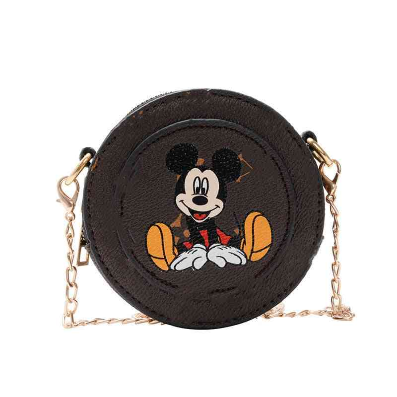 Mickey Mouse Print Messenger Shoulder Bag With Chain