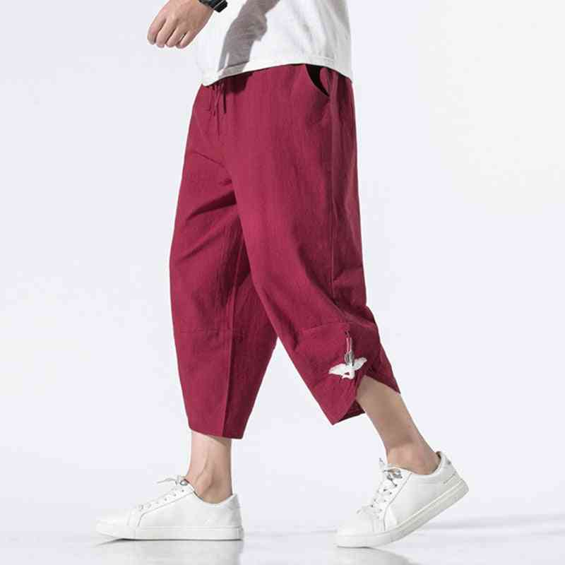 Mens Embroidery Cotton And Linen Harem Pants