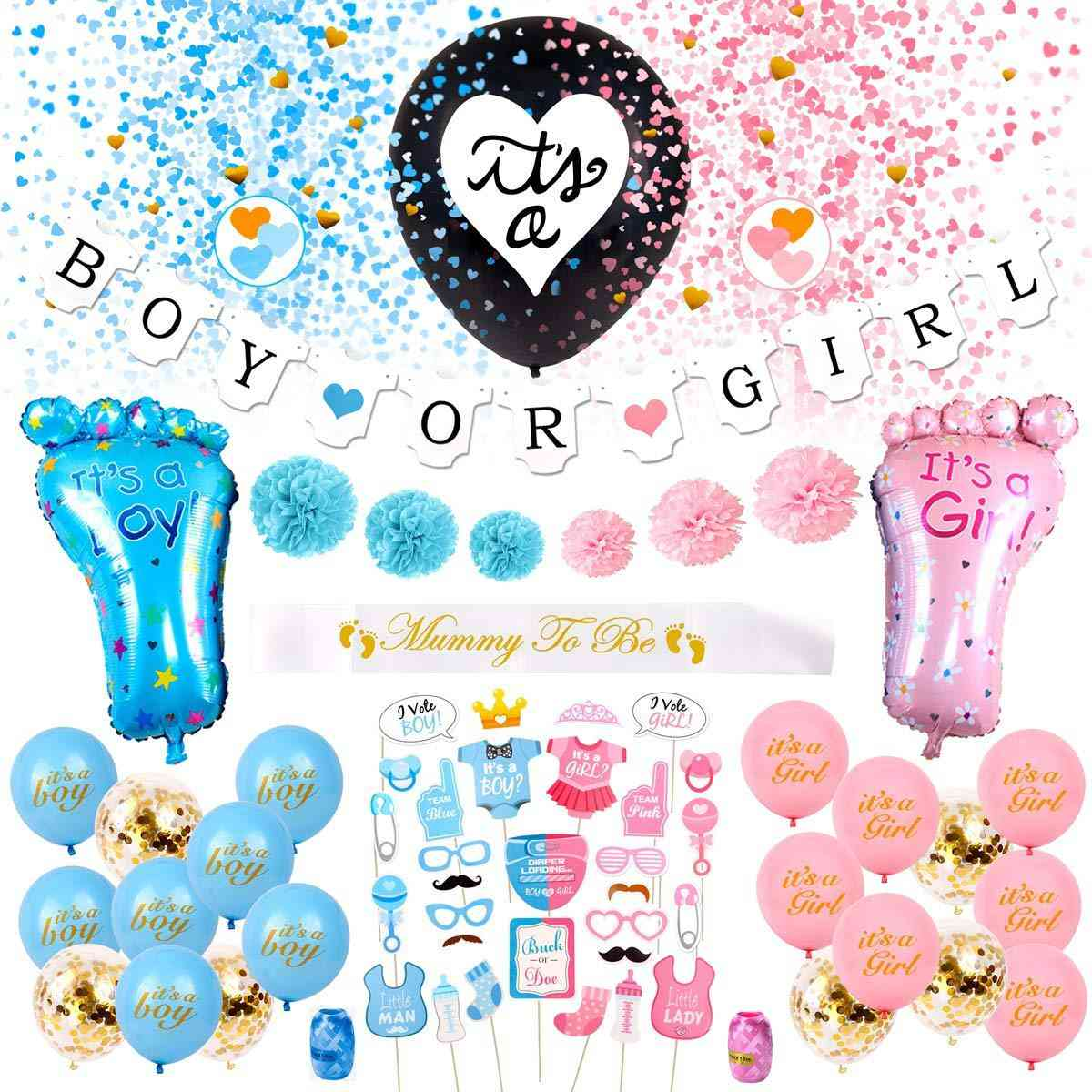 Baby Shower And Gender Exposure Party Decoration And Prop Set