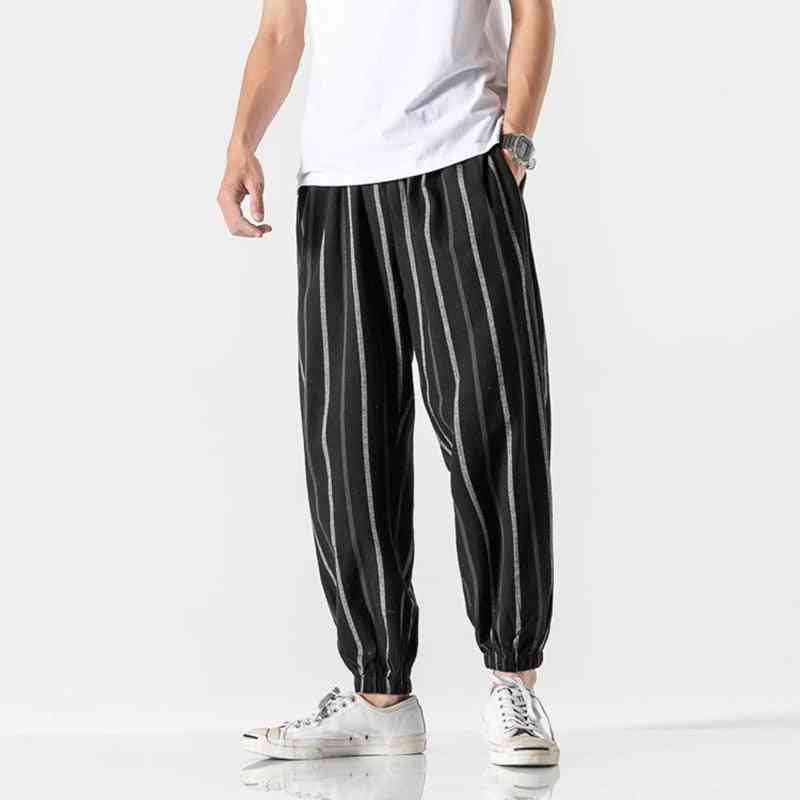 Striped Loose Summer Trousers, Men's Cotton And Linen Radish Pants