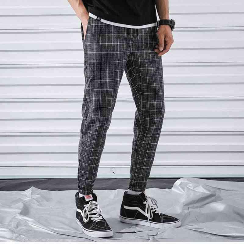 Fashion Large Size Summer Pants, Linen Street Wear Plaid Trousers
