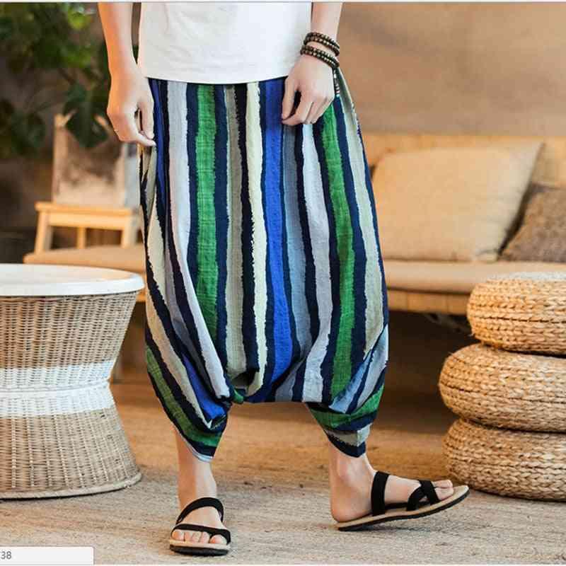 Wide Leg Loose Trousers-harem Striped Pants