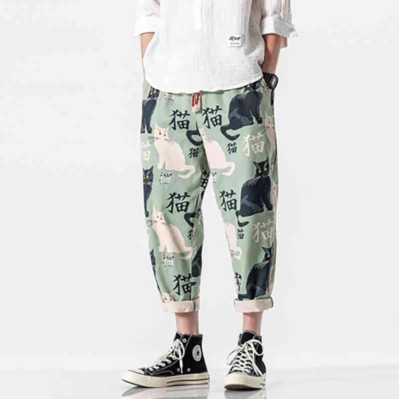 Denim Summer Trousers, Printed Harem Distressed Washed Jeans, Vintage Loose Pants