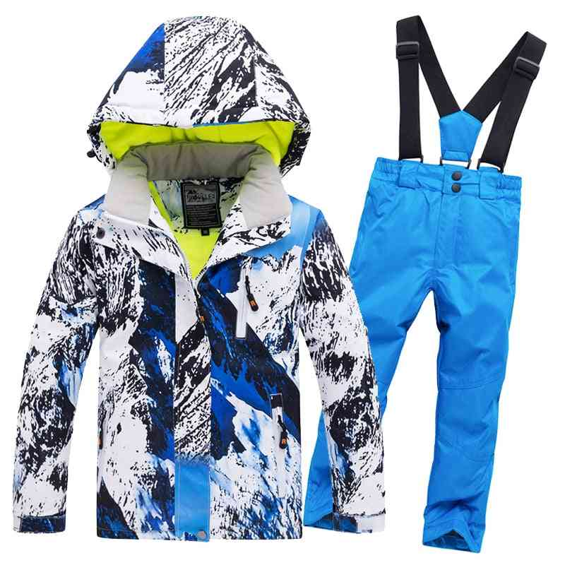 Children/girls Waterproof Pants+jacket Set, Winter Sports Thickened Clothes Ski Suits