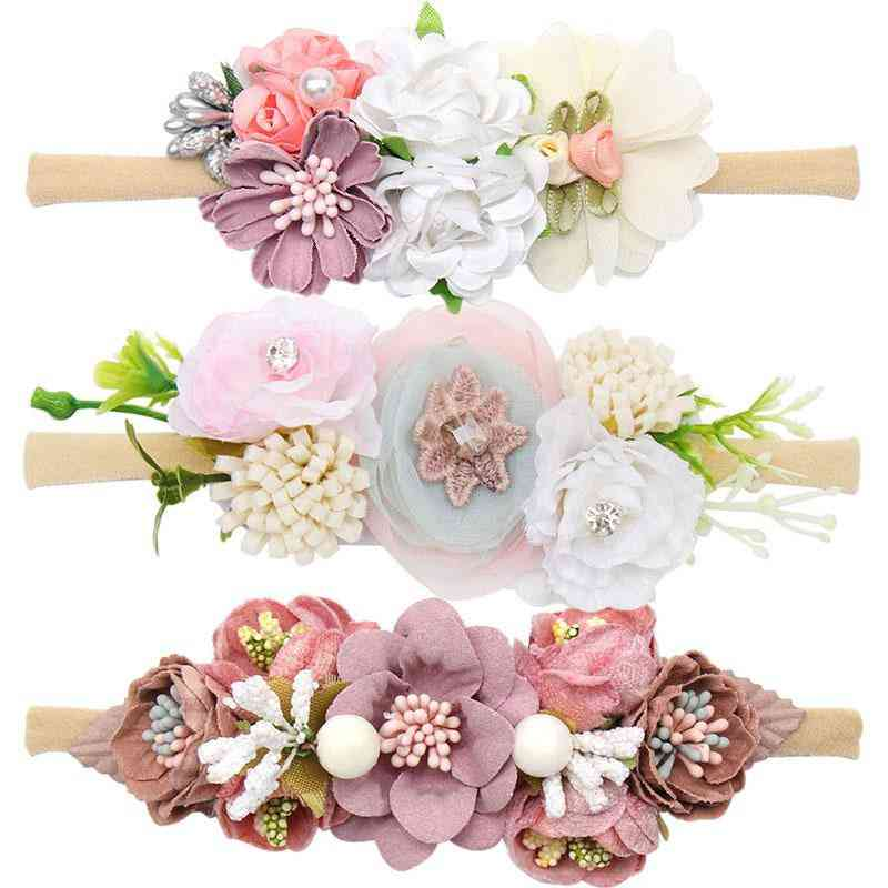 Peral  Embedded Floral Design-elastic Hair Band