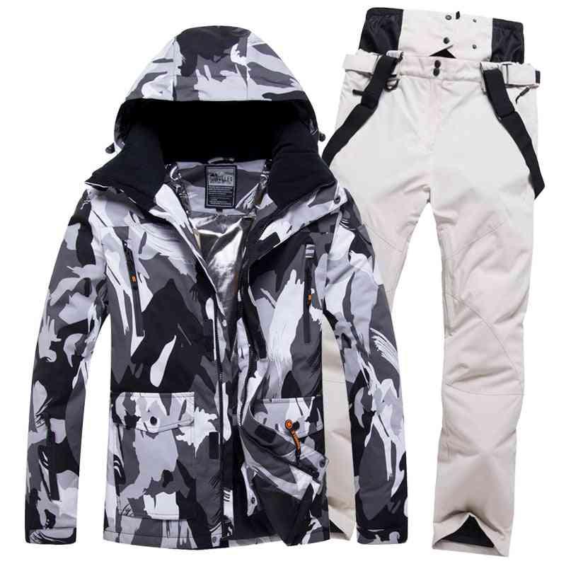 Windproof Ski Suit, Men Winter, Waterproof Sports Jackets And Pants