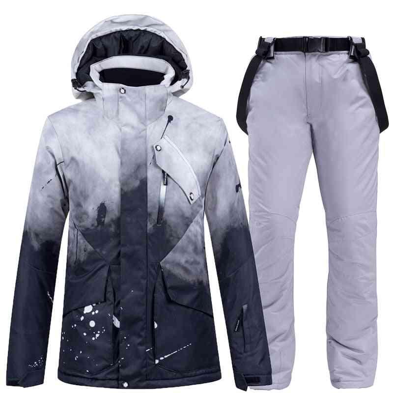 Thick Warm Women Ski Suit, Waterproof Skiing Snowboarding Jacket Pants Set