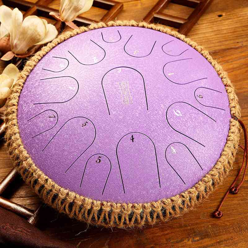 Handheld Steel Tongue Tank Drum Percussion Instrument - Yoga Meditation, Beginner Music Lovers
