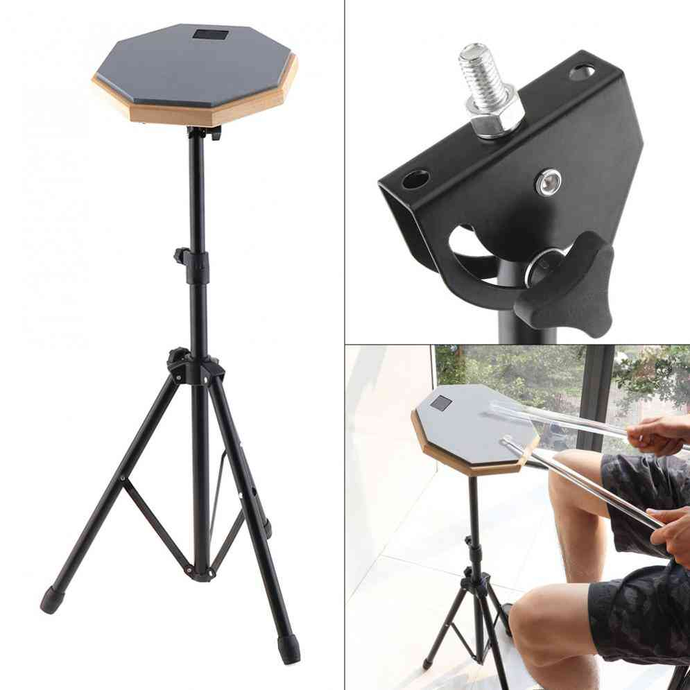 8 Inch Rubber Wooden Dumb Drum Pad With Stand For Beginner Instrument Practice Training
