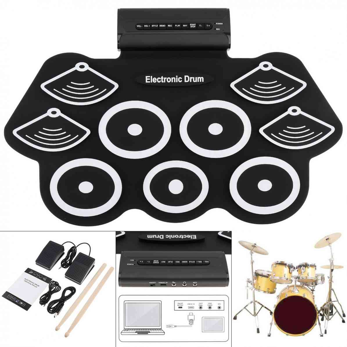 Electronic Roll Up Drum Kit With Drumsticks & Sustain Pedal