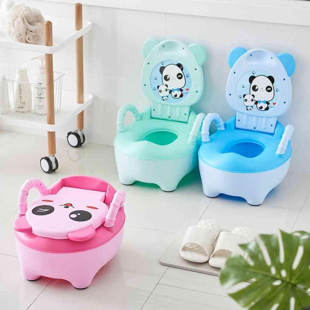 Baby Potty Training Toilet Seat, Comfortable Backrest Cartoon Pots
