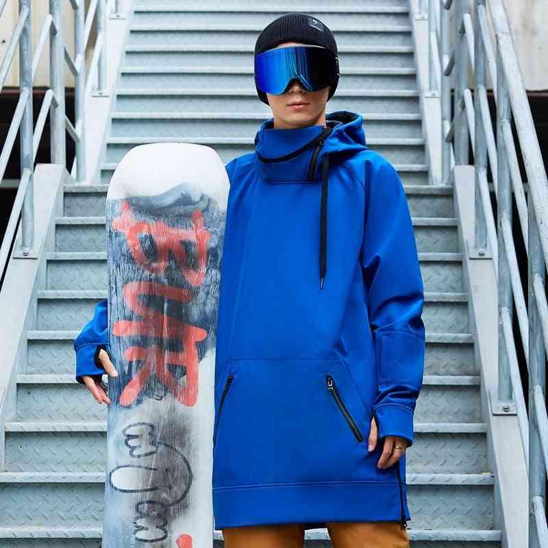 Winter Men Hoody For Ski Snowboarding, Long Sleeve Woman Pullovers Loose Fit Hooded Waterproof