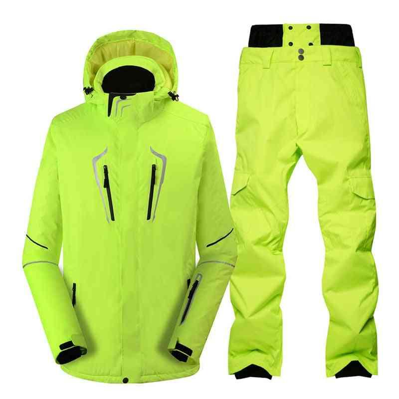 Men Snow Suit, Winter Outdoor Snowboarding Waterproof Ski Jackets & Pants