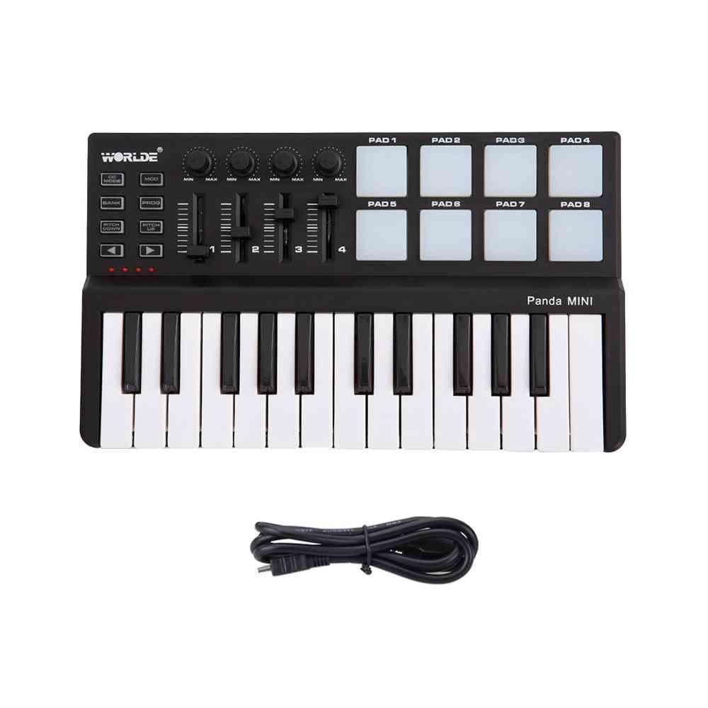 25-key Panda Midi Keyboard, Portable Mini Usb And Drum Pad Midi Controller