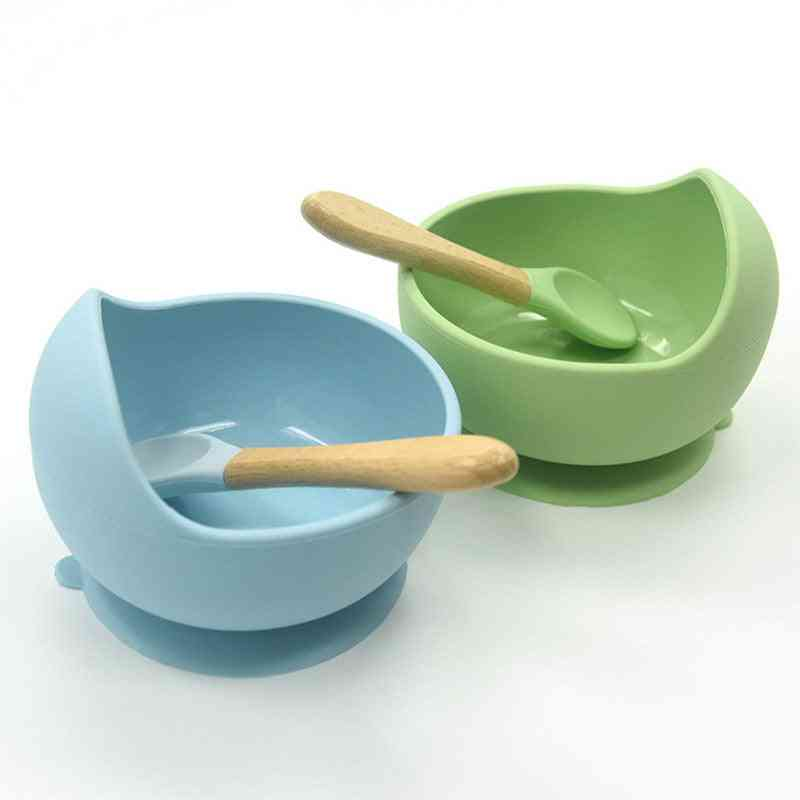 Baby Silicone Feeding Set Including Wooden Spoon, ,bowl And Plate