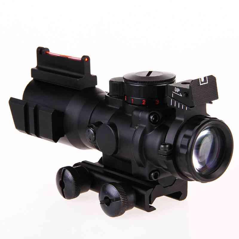 Scope Fiber Illuminated Rifle Optic Sight, Red Tactical Prismatic