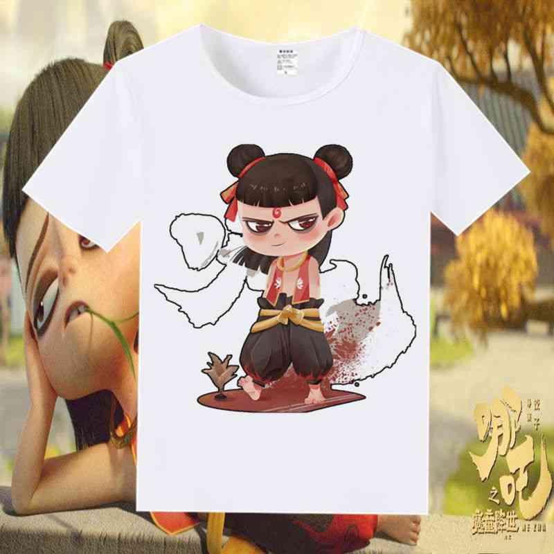 Cartoon Anime Nezha Magic Boy Print Short Sleeve T- Shirt, Skateboarding Sportswear