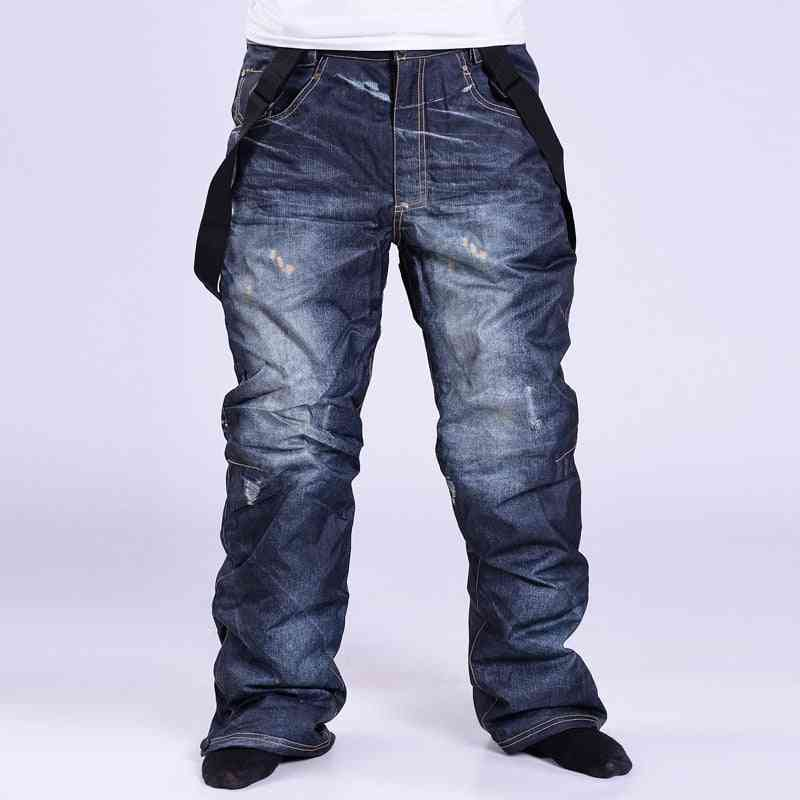 Men Ski Warm Windproof Waterproof Breathable Snow Pants, Outdoor Winter Trousers