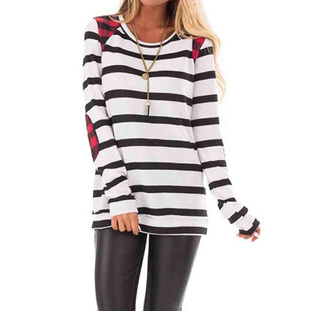 Women's Stripe Patch O-neck Slim T-shirt, Outdoor Skateboard Long Sleeve Sports Sweater