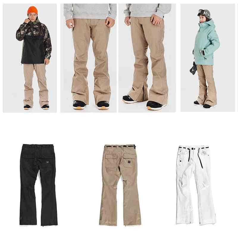 Men And Women Waterproof Mountain Ski Suit Pants With Bib Multi-pockets Tights