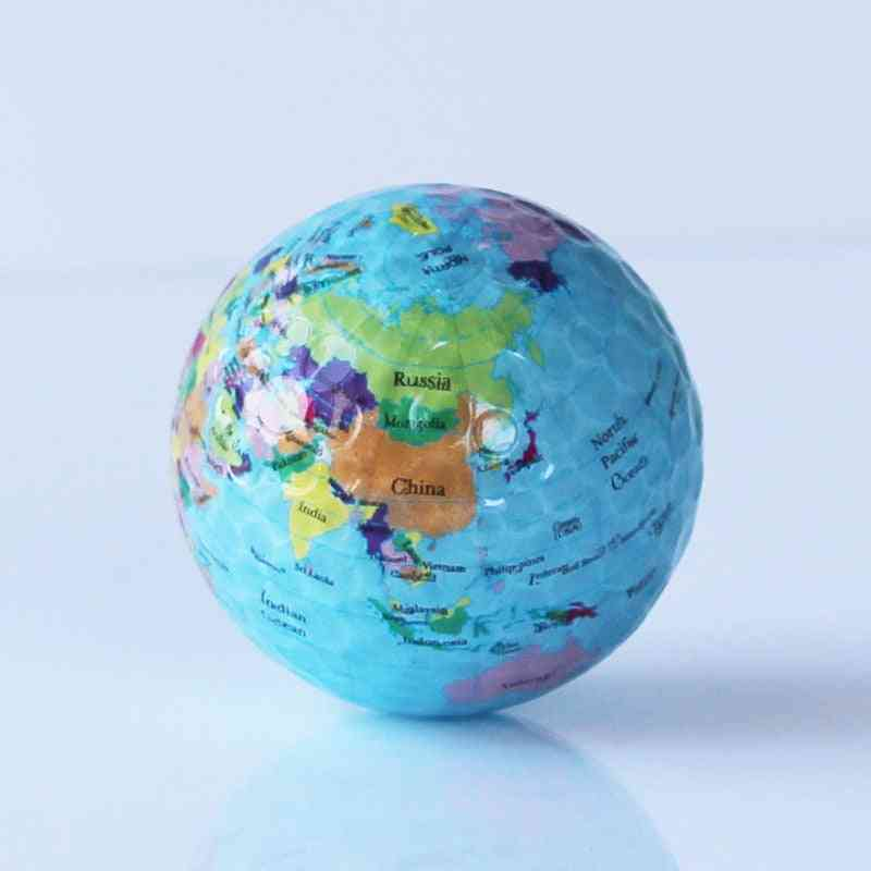 Globe Map Print Earth Golf Ball- Indoor / Outdoor Beginner Practice Training Tool