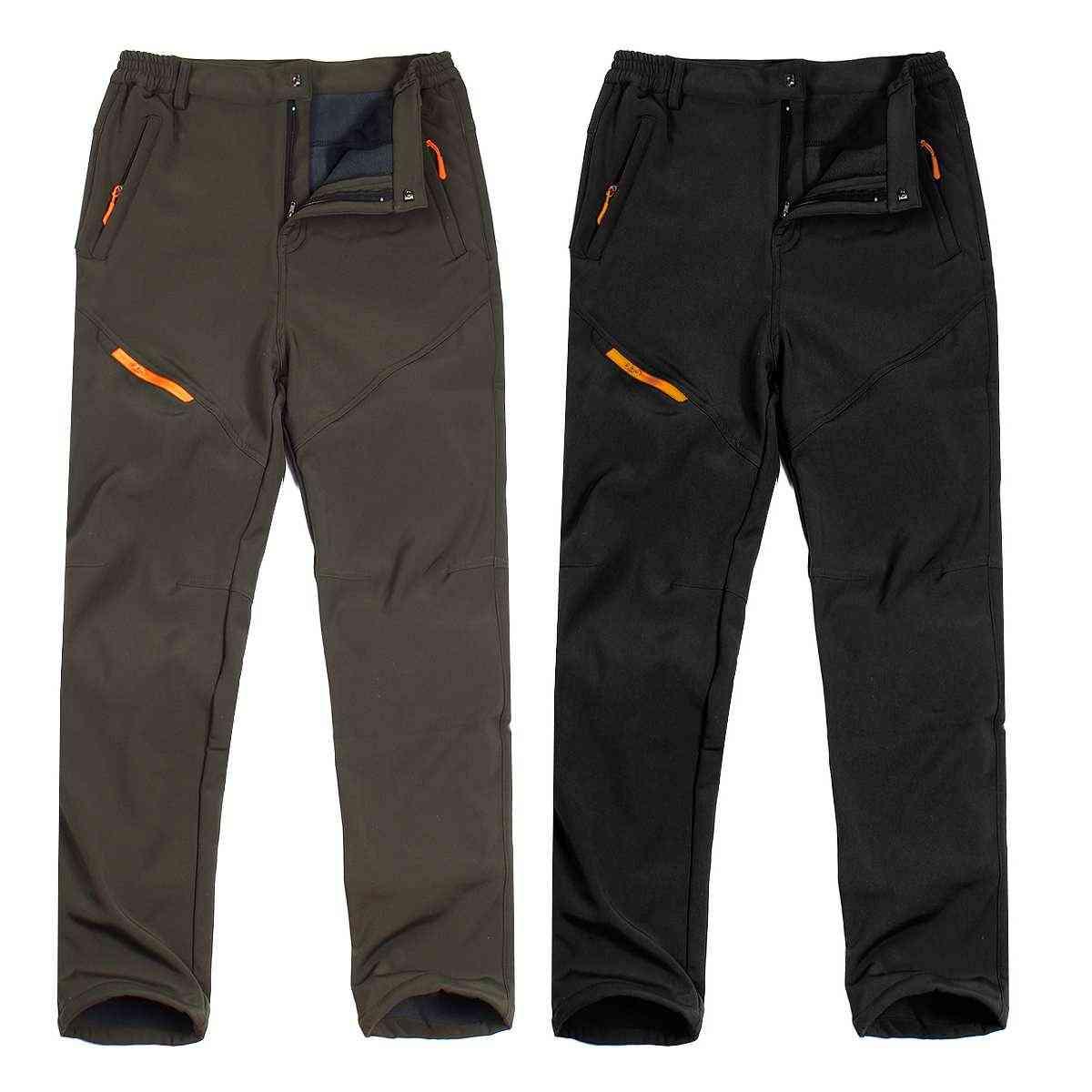 Men's Plus Velvet Thick Autumn And Winter Soft Shell Pants Trousers, -40 Degree Snow Ski Pant For Male / Female