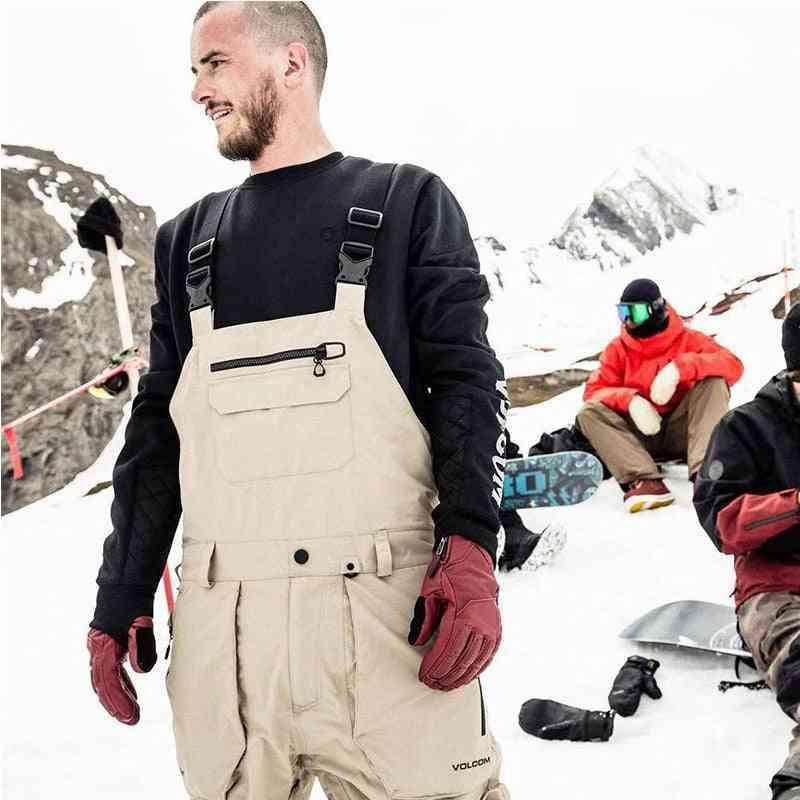 Men Ski Pants With Straps Black Khaki Waterproof Jumpsuittrousers Broadcloth Long Pants