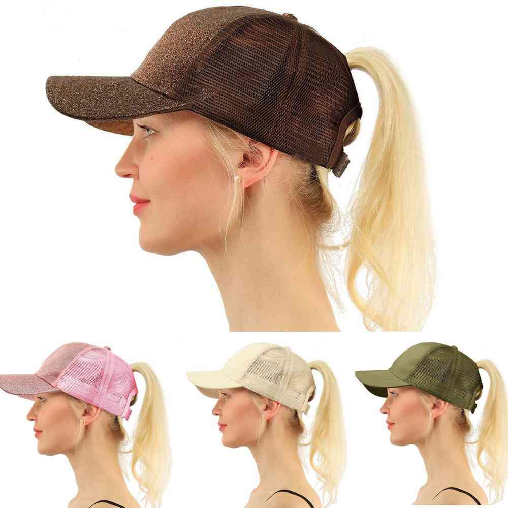 Men, Women. Glitter Ponytail Adjustable Summer Cap