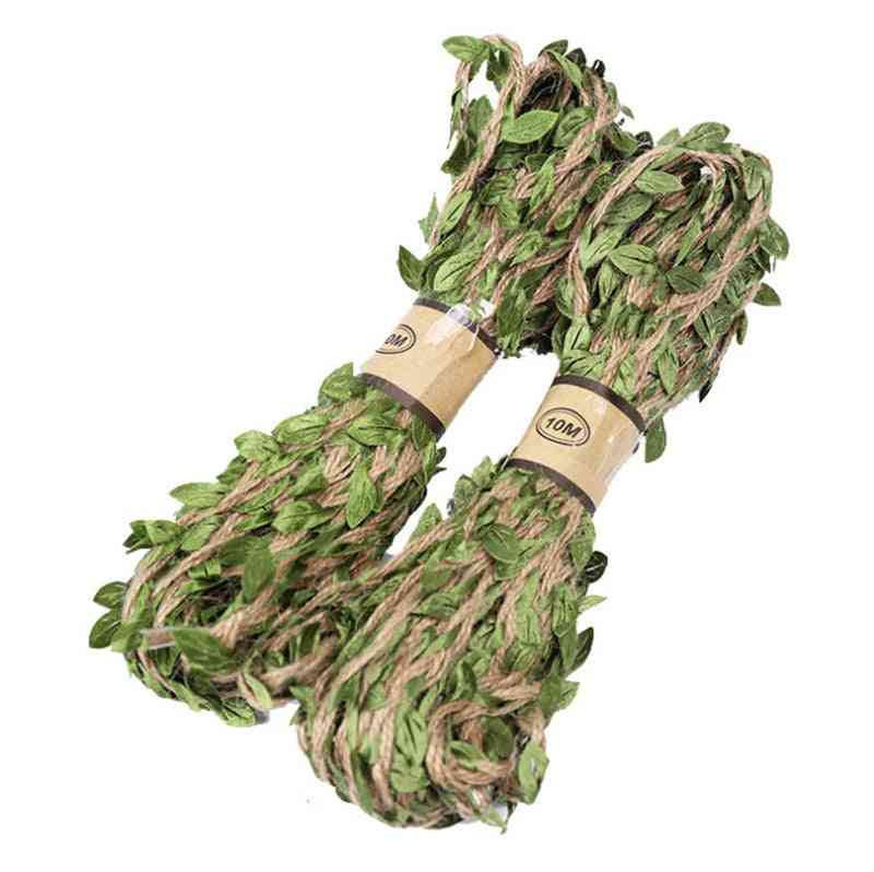 Hemp Rope Green Leaves Hunting Rifle Wrap, Twine Camouflage