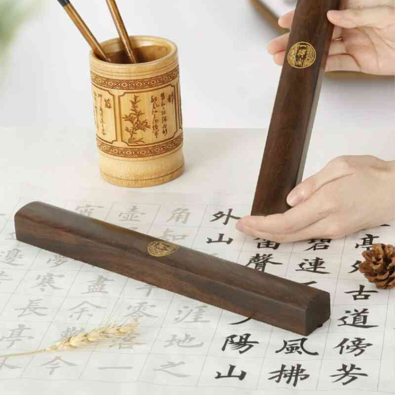 Large Wooden Chinese Calligraphy Ink Brush Painting Paperweights, Simple Classical Paperweight