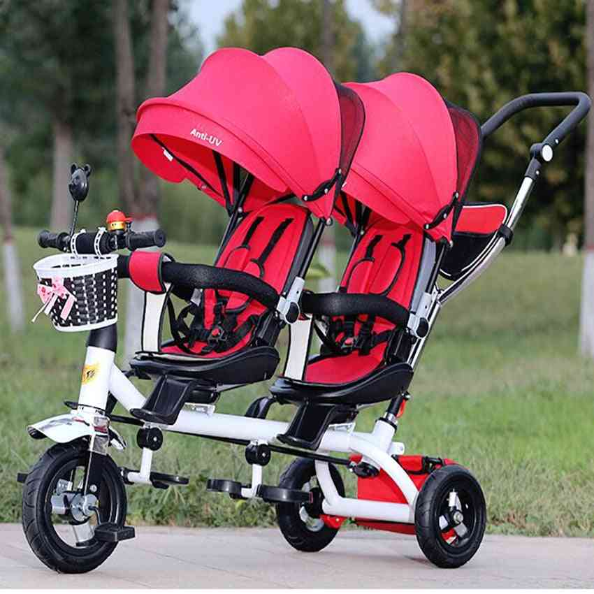 Anti Uv Sunshade Twins Baby Stroller, Double Tricycle Trolley, Rotating Swivel Prams