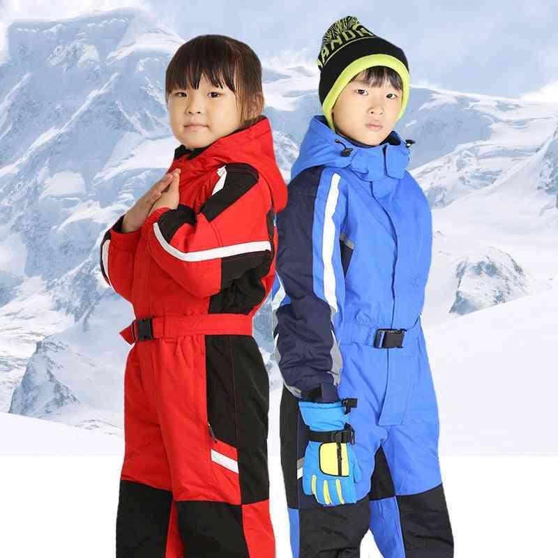 Winter One-piece Waterproof Ski Suit-boys Warm Jumpsuit, Thermal Outdoor Suit