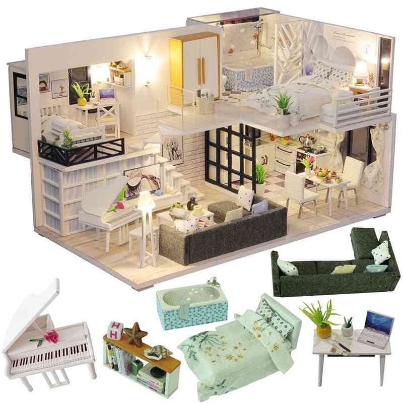 Wooden Miniature Doll House Furniture Kit For