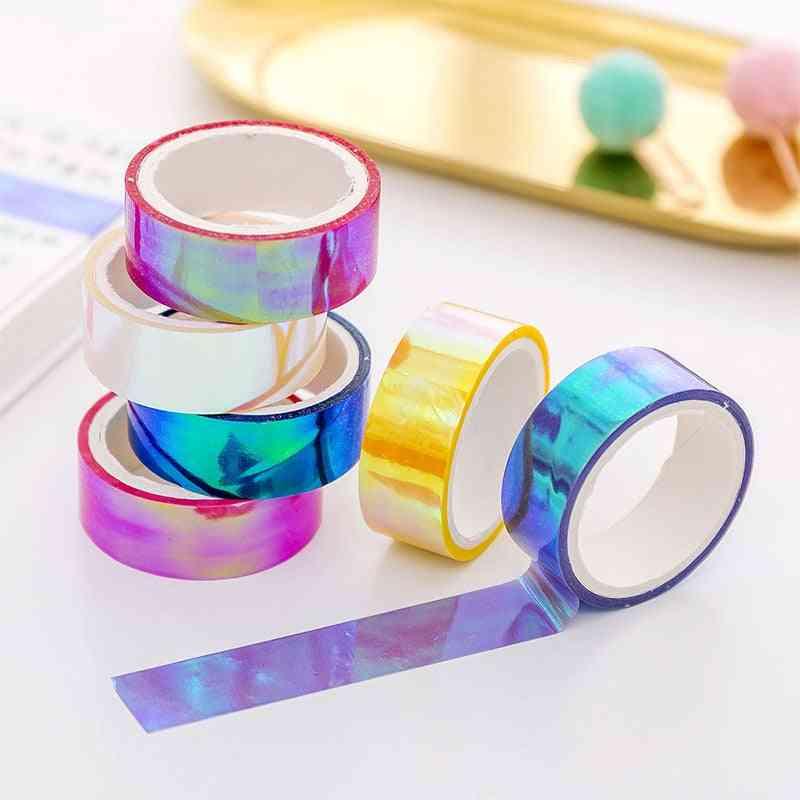 Rhythmic Gymnastics Decoration, Holographic Prismatic, Glitter Tape Hoops Stick
