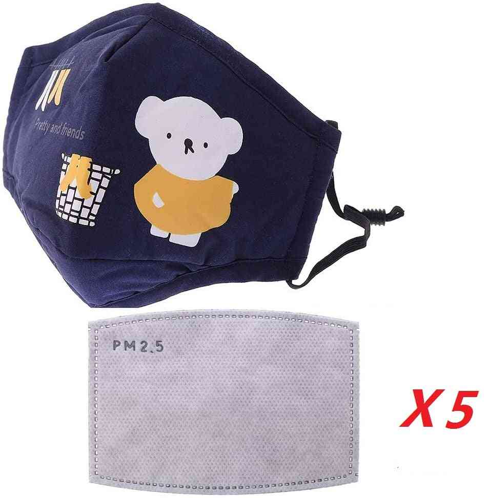 Recycling Washable Kids Activated Carbon Filters Cotton Filtration Boby-face Protection