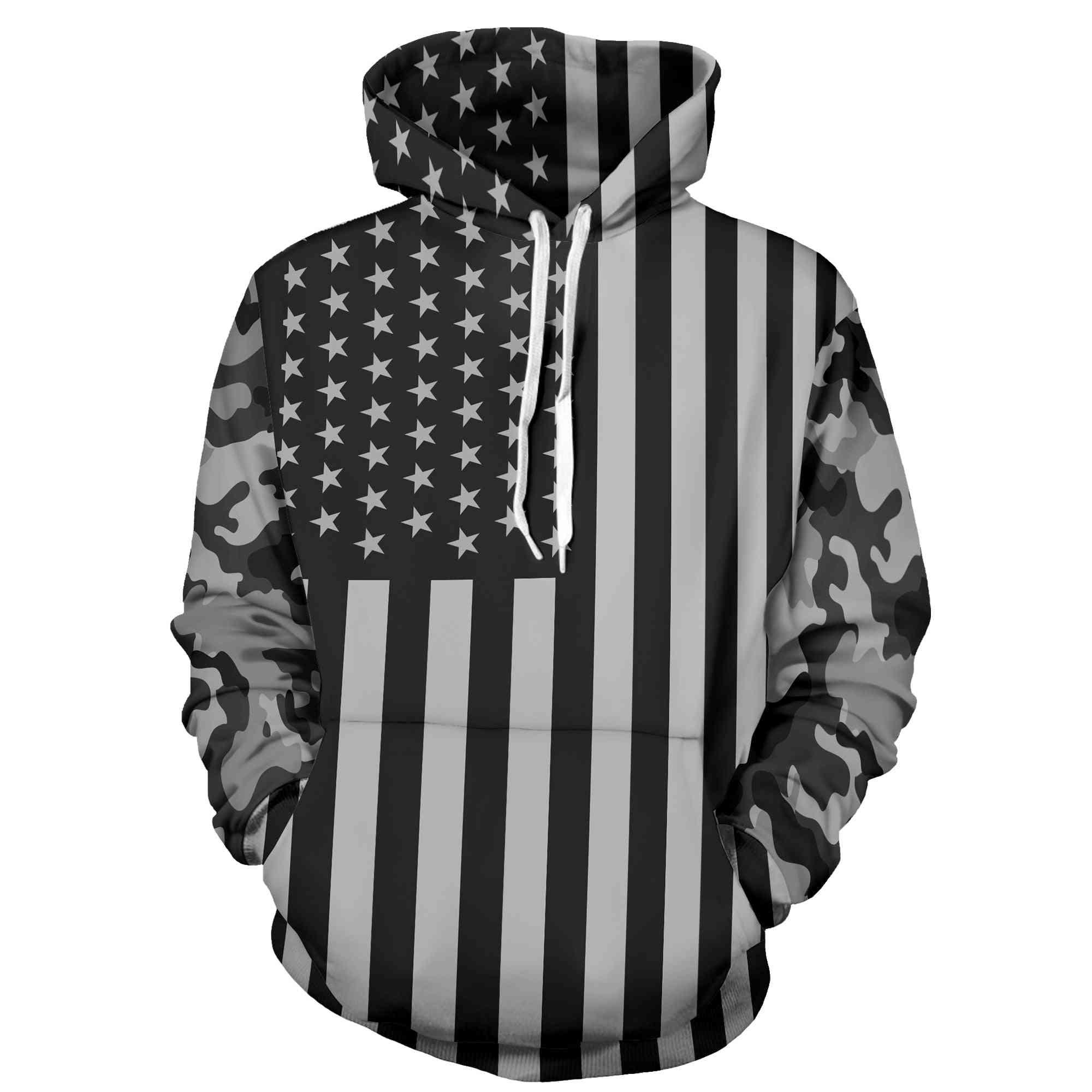 3d Fun Design Usa Flag Hoodie Fashion Mens / Womens