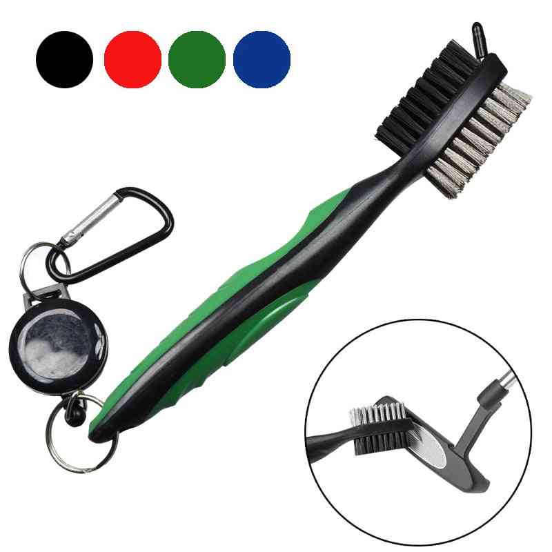 Golf Club Brush Groove Cleaner With Retractable, Zip-line And Aluminum Carabiner, Cleaning Tools
