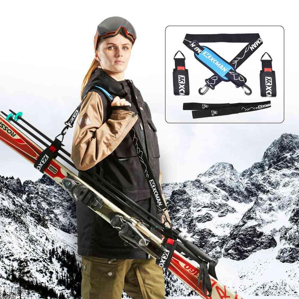 Alpine Ski Poles And Boot-s Carrier Straps Bonus- Shoulder Sling