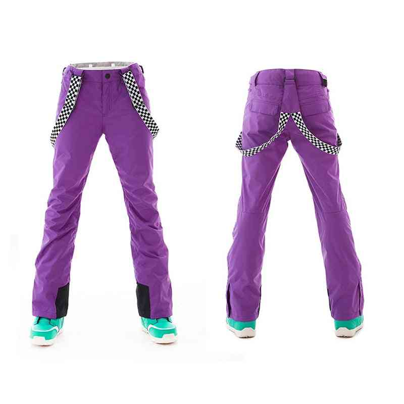 Winter Women's Outdoor Warm Snow Pants With Strap