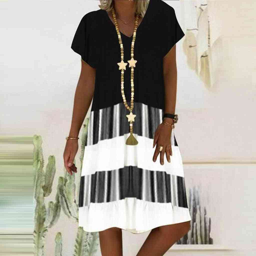 Sexy Ethnic Style Long Print Dress With Short Sleeves For Women