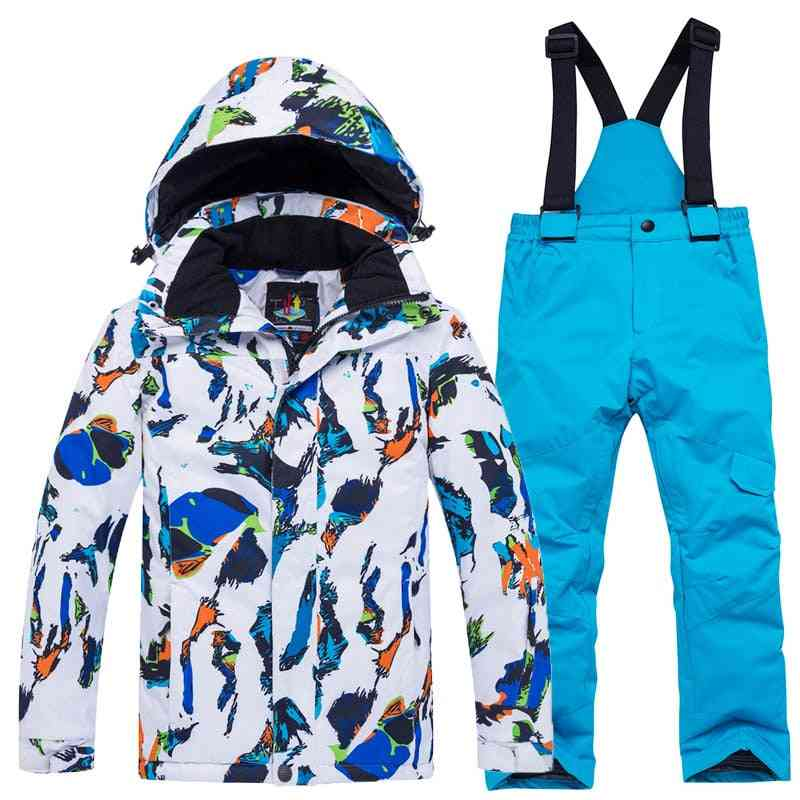 Children Winter, Waterproof Ski Suit Including Jacket And Pants With Strap