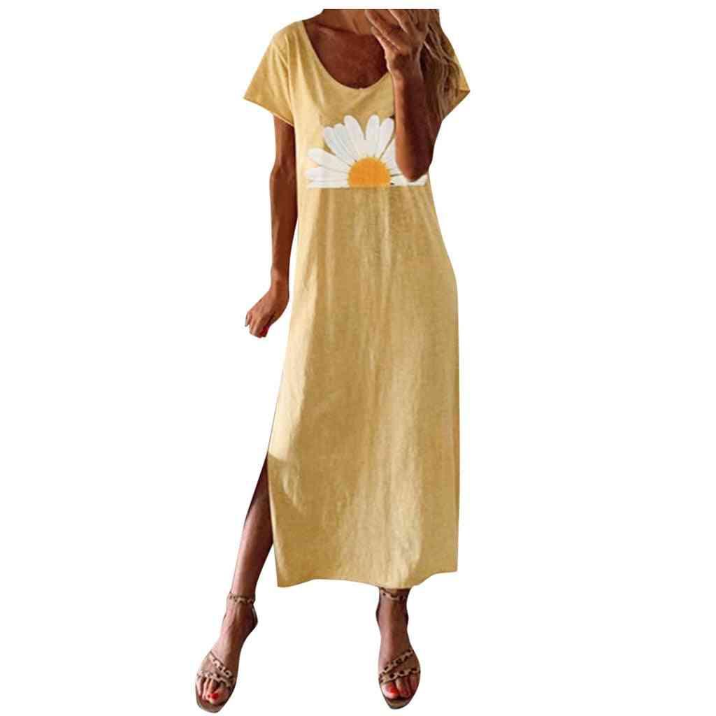 Women's Round Neck, Short Sleeve Casual Vintage Bohemian Maxi Dress