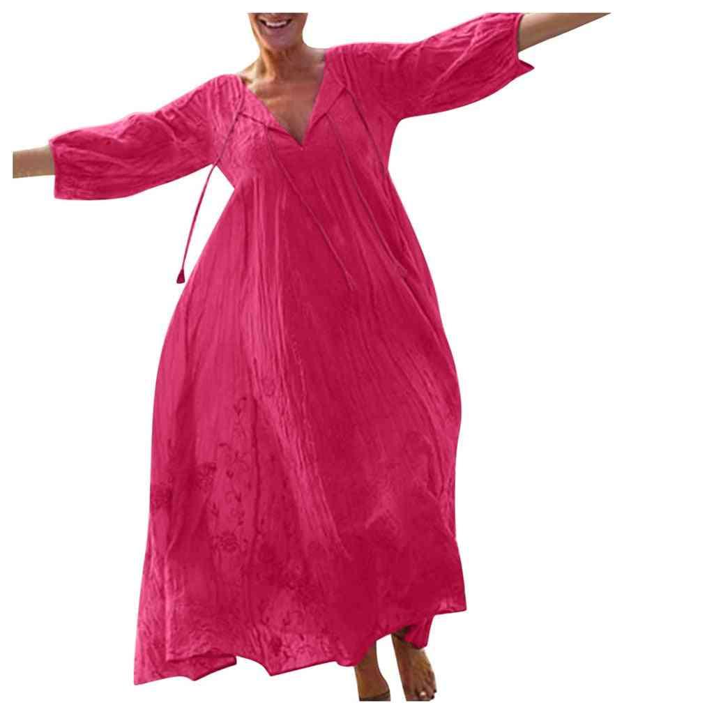 V Neckladies Summer Beach Party Long Dress